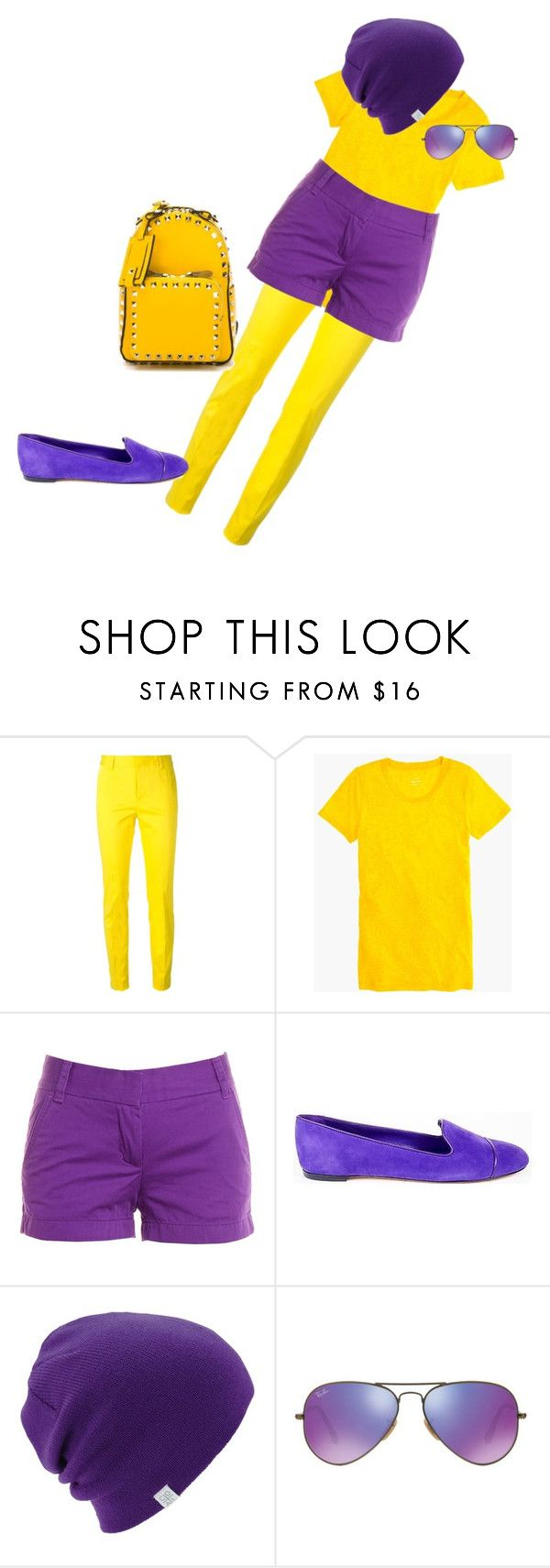 minion kit by alicejudo on Polyvore featuring mode, J.Crew, Dsquared2, Gianvito Rossi, Valentino, Ray-Ban and Coal