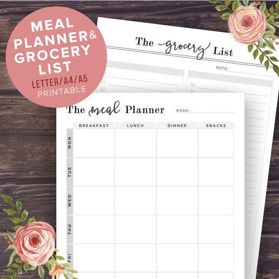 Comida imprimible de planificador, planificador de menú + lista de compras, Fitness, planificador de comidas semanales,…