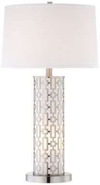 Mid-Century Cylinder Satin Steel 28 1/2-Inch-H Table Lamp - #EUP1111 - Euro Style Lighting