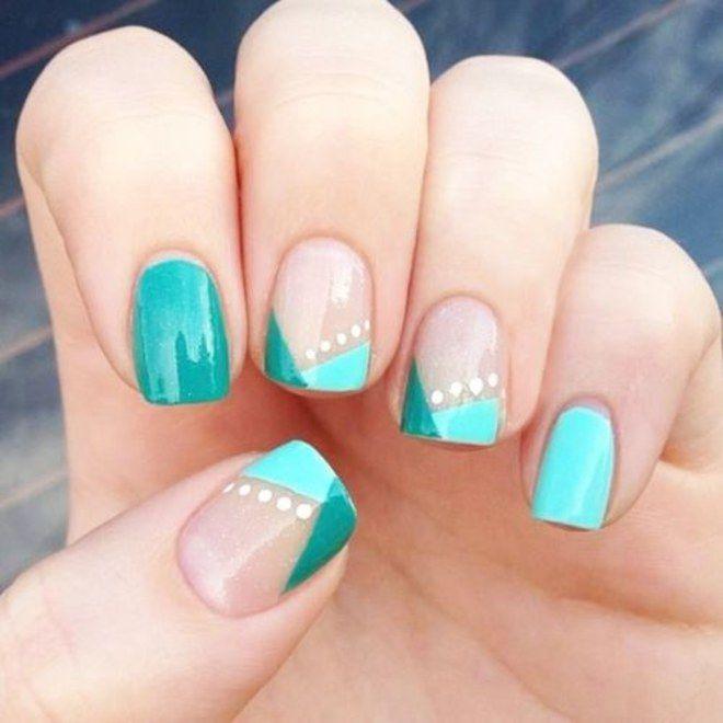 Verde com detalhes geométricos + bolinhas brancas | Unhas decoradas 2016