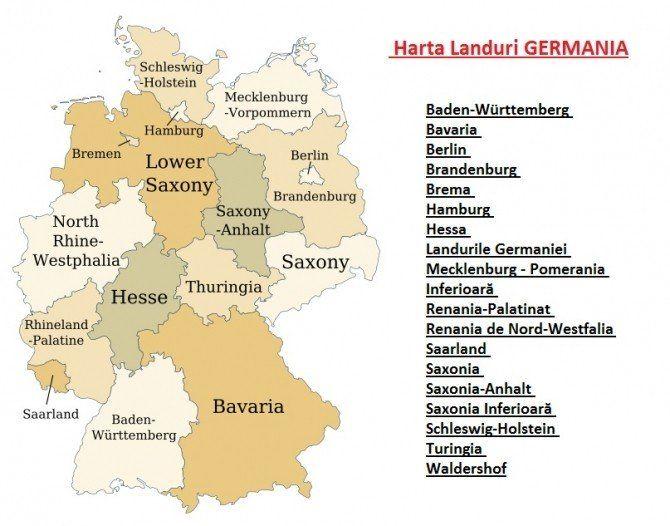 Harta Germaniei Pe Landuri Hartă Berlin Germania