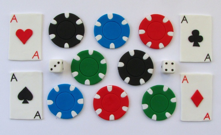 Fondant Cupcake Toppers - Cards and Poker Chips. $16.99, via Etsy.