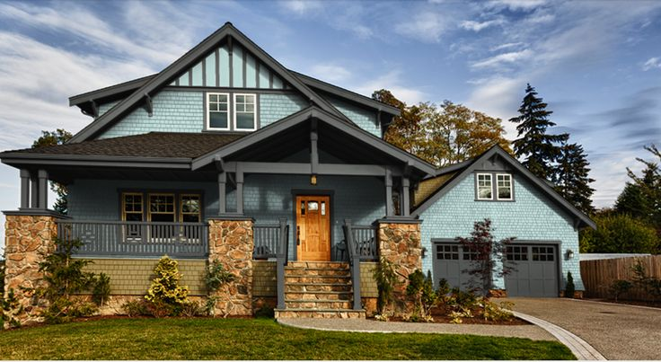 Seafoam Green exterior paint with Grizzle Grey trim by Sherwin Williams