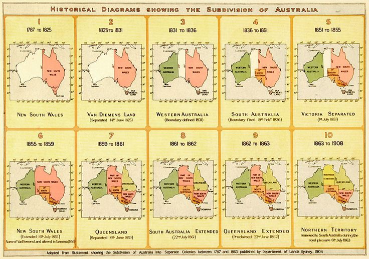 Visual history of Australia's territorial evolution. For information see link below.