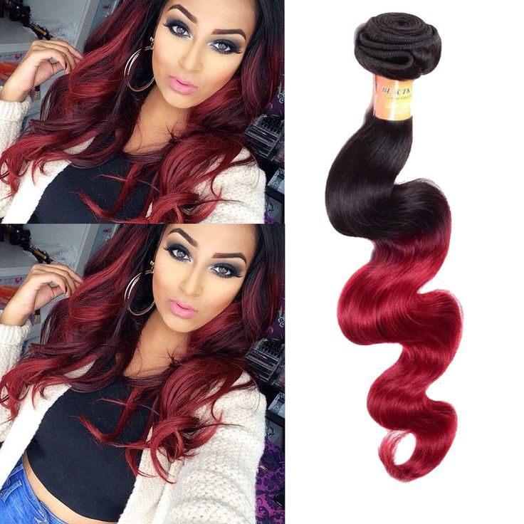 """150g 10"""" 100% Brazilian Real Human Hair Extension 1B/Burg Body Wave Hair Weft #Unbranded"""