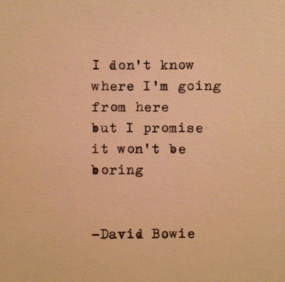 """""""I don't know where I'm going from here, but I promise it won't be boring."""" - David Bowie  ¸.•*¨*•♫♪♥ Rest in Peace"""