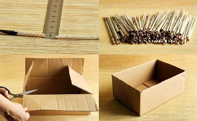 Плетём коробку из газетных трубочек МК