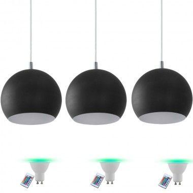 3er Set Hnge Pendel Leuchte Wohnzimmer Beleuchtung Fernbedienung Im Inklusive RGB LED Leuchtmittel Bild
