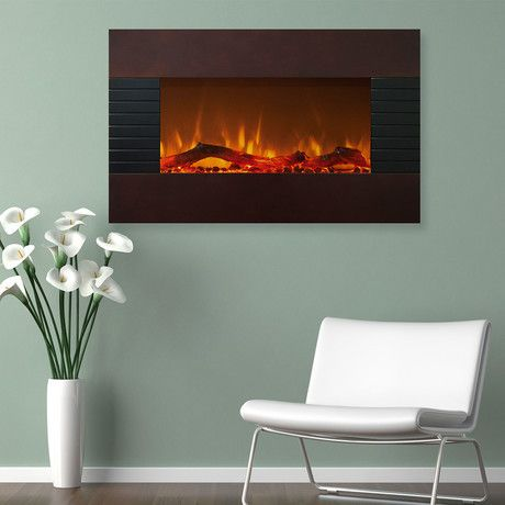 Northwest Electric Fireplace + Wall Mount + Floor Stand // Mahogany
