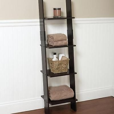 Leaning Ladder Wood Linen Tower Bathroom Storage Furniture Espresso Shelf Rack