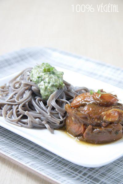 Soba au pesto de roquette germée et tomates rôties à l'ail de ours et Tamari / ♥ - 100 % Végétal | Cuisine vegan