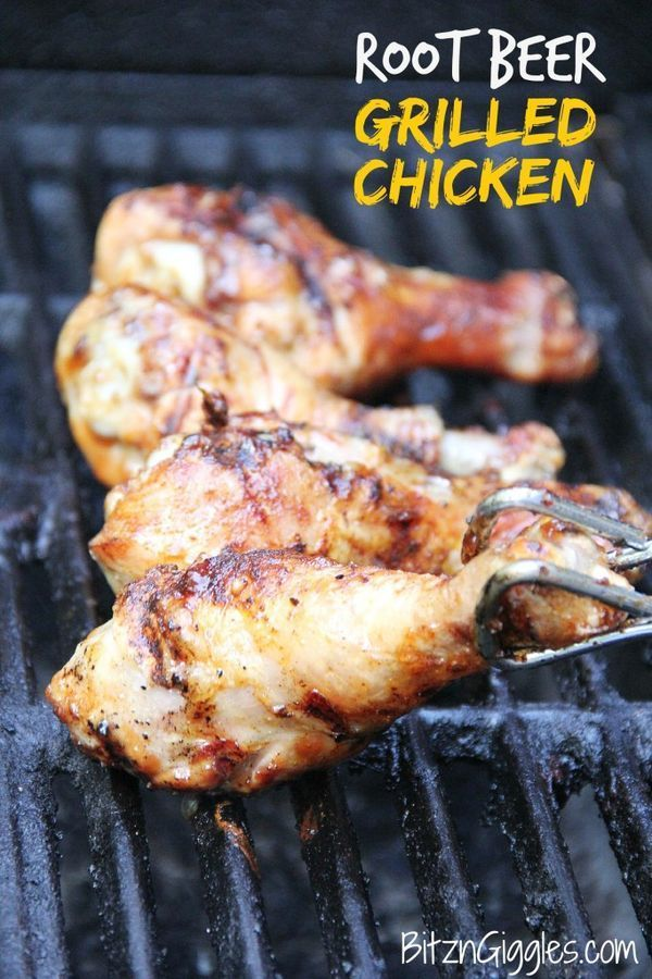 Root Beer Grilled Chicken - Juicy, flavorful chicken grilled to perfection, then brushed with a sweet caramelized root beer glaze. #chicken #rootbeer