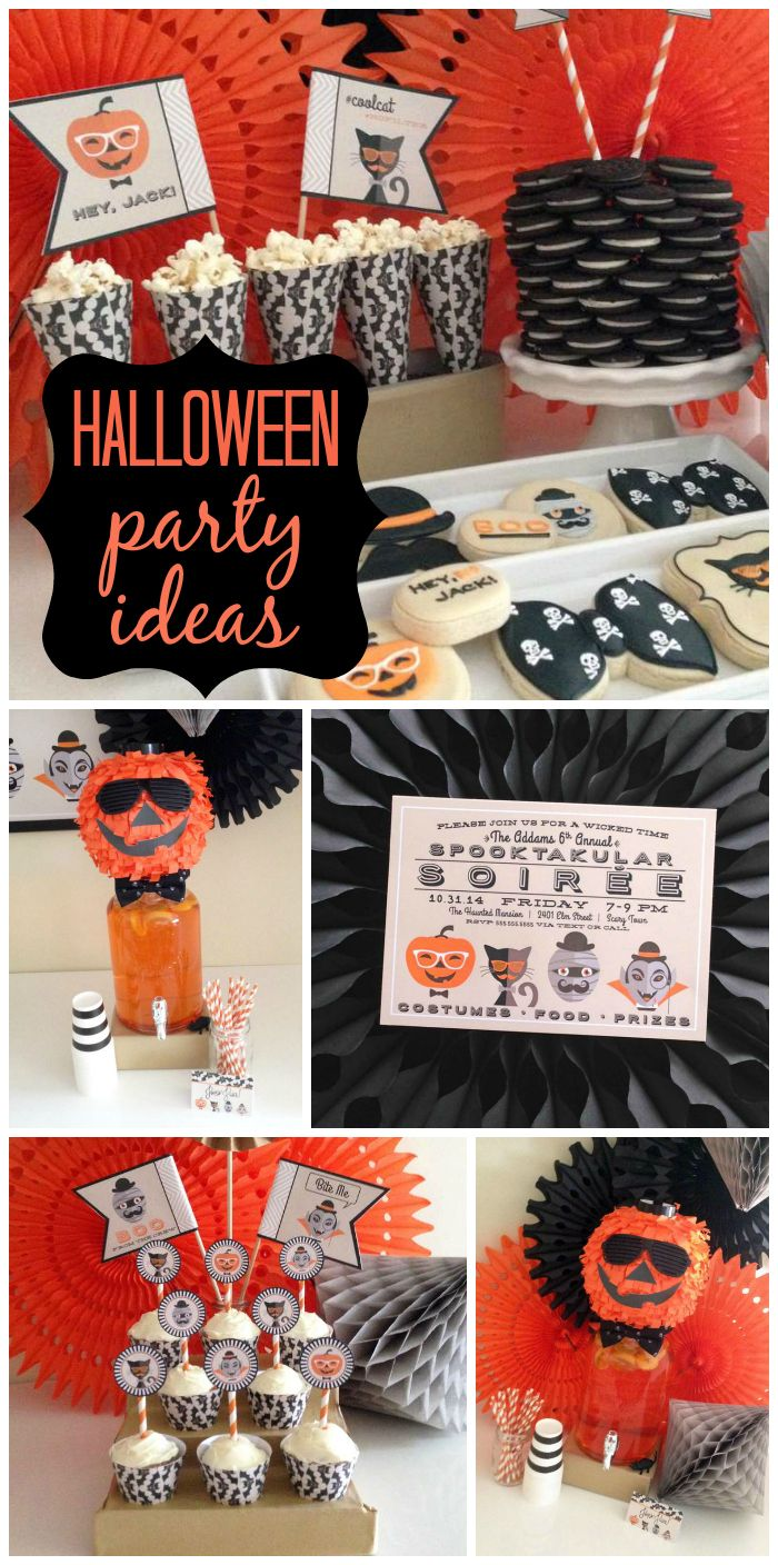 A Hipster Halloween Party with incredible cookies, honeycomb fans and a stacked Oreo cake!  See more party planning ideas at CatchMyParty.com!