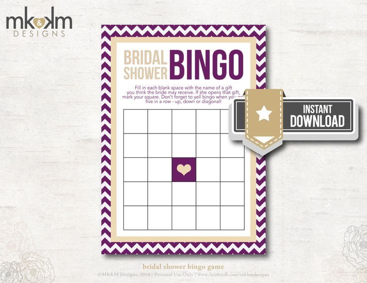Bridal Shower Bingo Chevron Bridal Shower Theme  by MKKMDesigns, $5.00