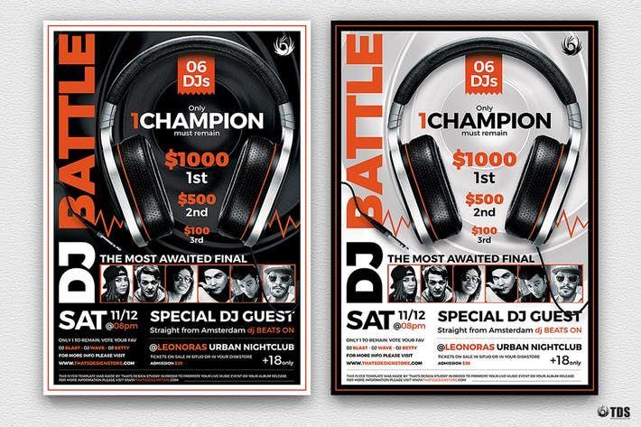 DJ Battle Flyer Template V5 #concert #dj  • Download here → http://1.envato.market/c/97450/298927/4662?u=https://elements.envato.com/dj-battle-flyer-template-v5-YVH73V