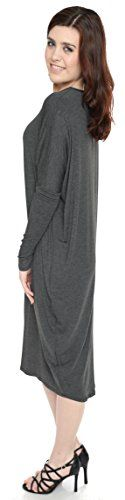 Baby'O Women's Long Sleeve Comfy Cover-Up Midi Dress (Medium, Charcoal Heather)  Made from an ultra soft 95% rayon, 5% spandex jersey knit  High modest crew neck and below the knee length dress  Long relaxed dolman sleeves  Hand wash only  Made in the USA