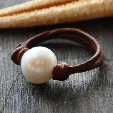 Pearl on Leather Ring Parfait by nicholaslandon on Etsy, $49.00