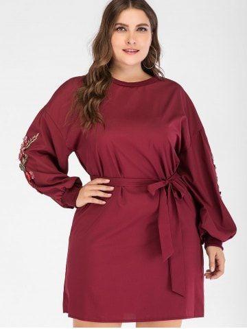 10dd95541db Drop Shoulder Plus Size Applique Shift Dress with Belt