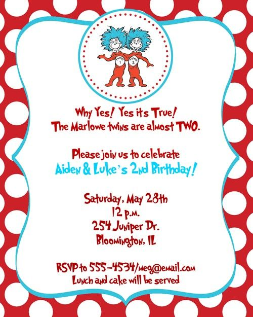 Twinsu0027s 2nd Birthday: Dr Seuss Thing 1, Thing 2 Birthday Party Baby Shower  Invitations