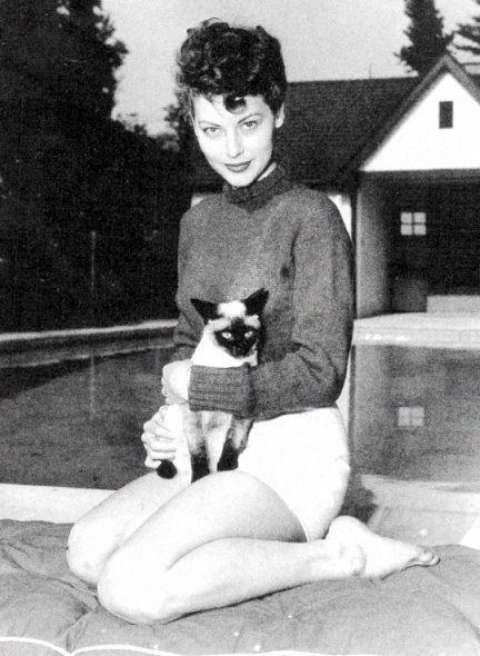 Ava Gardner    http://1.bp.blogspot.com/-LGuRLcfHLFk/TbZxYIpc3vI/AAAAAAAAGVQ/u8YYVvJcdns/s1600/ava-gardner-with-her-siamese-1946-3.jpg