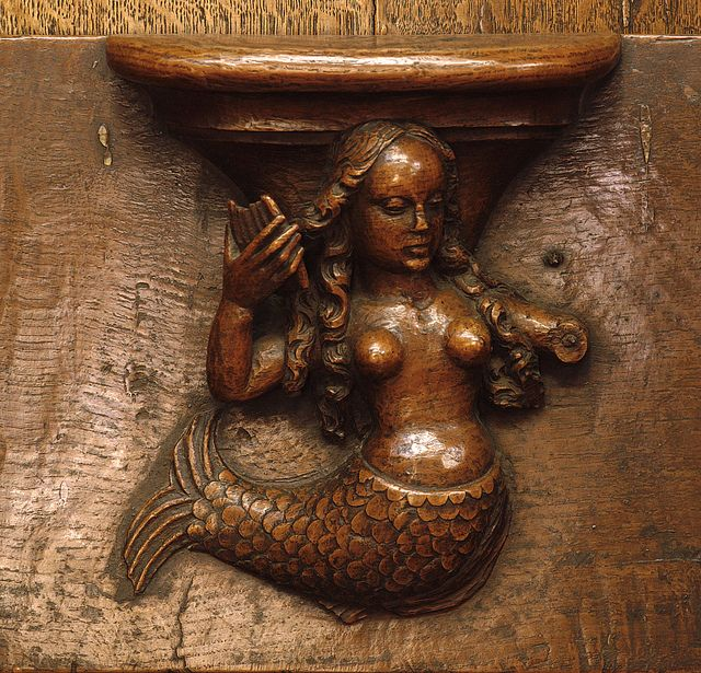 #mermaid carving found in a church in Germany... DIest, Viaams Brabant, BE