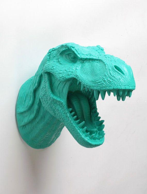 Montaje de la pared de cabeza de dinosaurio - decoración de la pared T-Rex - dinosaurios Trex decoración de dormitorio blanco Faux Taxidermia - Jurásico de la resina del turquesa de Crowley