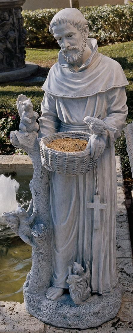 St Francis With Animals Bird Feeder Statue Tgs0003