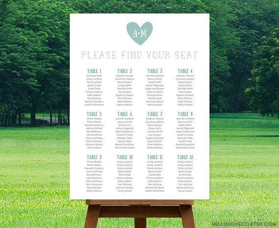 PRINTABLE Large Wedding Seating Chart  Reception door HelloLoveCo