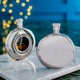Personalised and Engraved Round Window Hip Flask