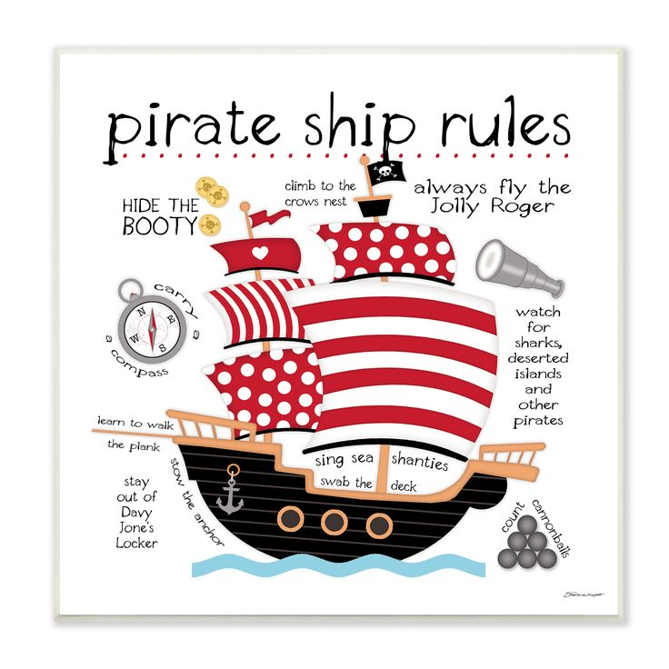 Stupell Pirate Ship Rules' Wall Plaque Art