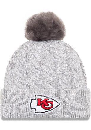 efff34b3825f27 New Era Kansas City Chiefs Womens Grey Toasty Pom Knit Hat   NFL ...