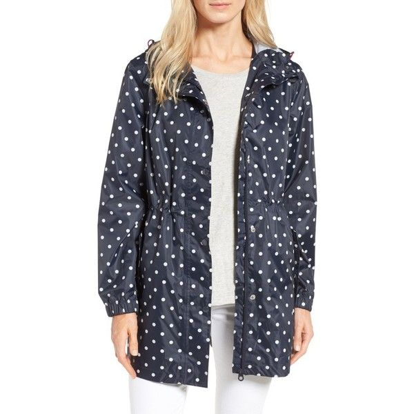 Women's Joules Right As Rain Packable Print Hooded Raincoat ($75) ❤ liked on Polyvore featuring outerwear, coats, navy spot, polka dot rain coat, hooded raincoat, navy blue coat, polka dot raincoat and joules raincoat