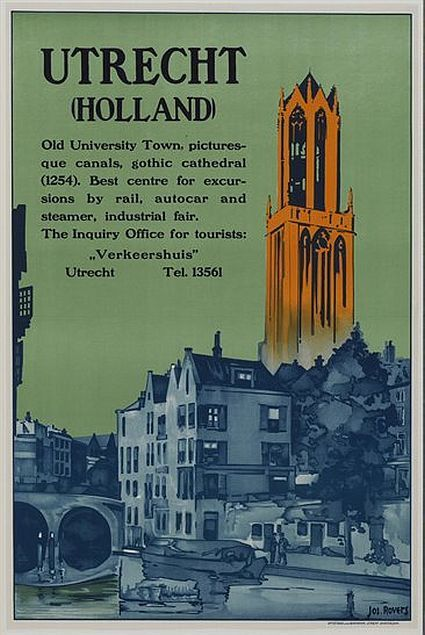 Vintage Travel Poster - Utrecht - The 'Dom', Gothic Cathedral - The Netherlands.