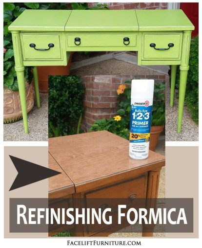 Vintage furniture with formica tops may have a dated and dreary appearance, but they are great candidates for refinishing with paint, glaze and distressing.