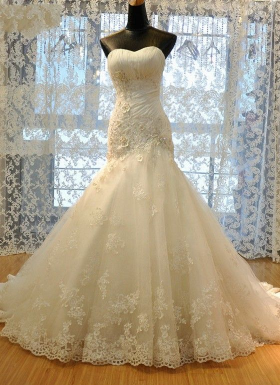 Sweetheart-Neck Flowers Lace Lace-Up Ruched Beading Back Mermaid Wedding Dresses