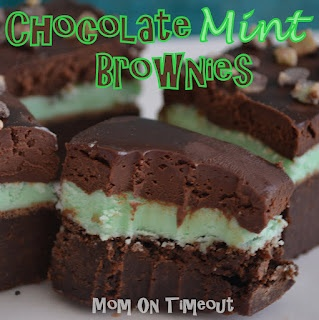 Chocolate Mint Brownies - Perfect for St. Patrick's Day (Brownie, mint filling, and chocolate ganache on top)