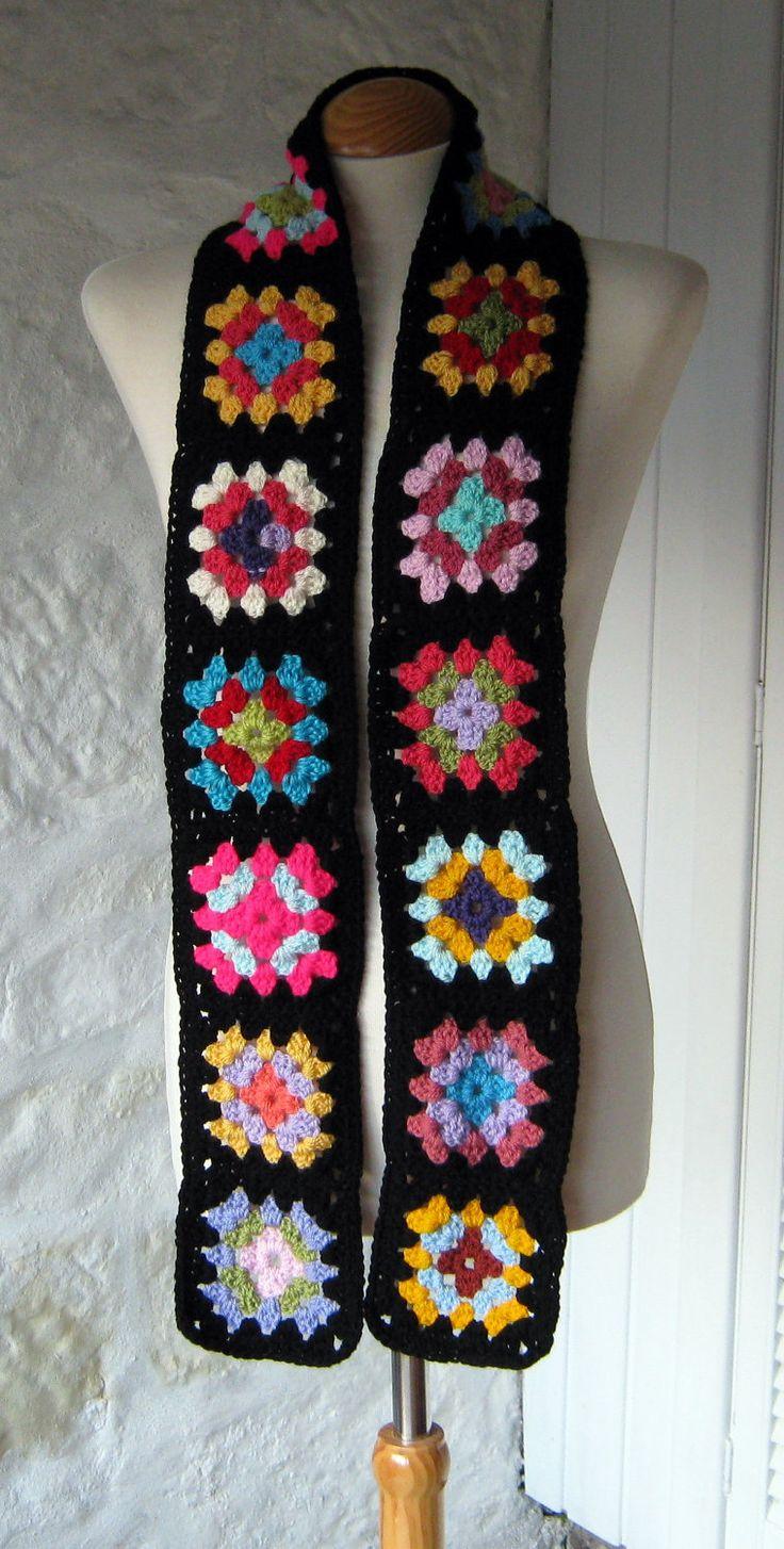 Granny square scarf. I really like this idea a lot.