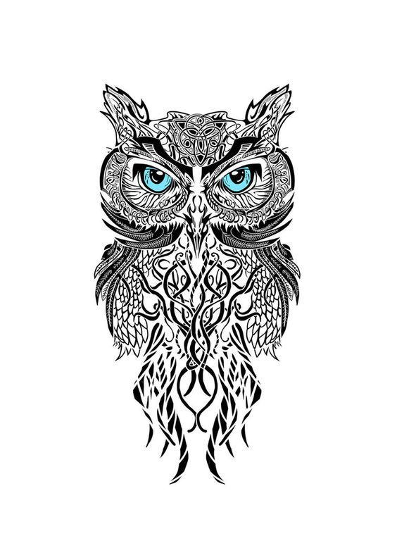 black and white owl this would be awesome as a tattoo between the shoulder blades. Might consider it...: