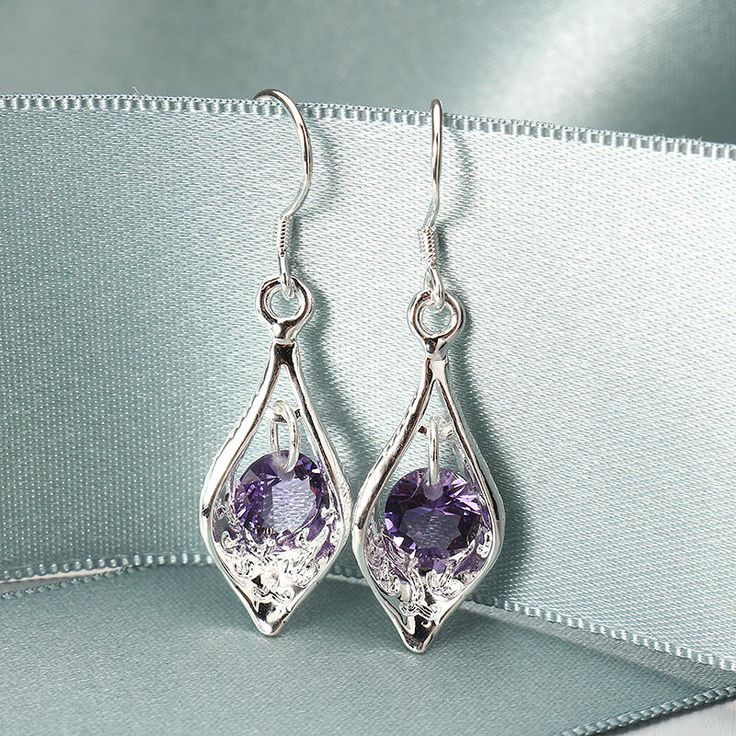 Elegant Silver Plated Purple Zircon Pandent Gemstone Water Drop Earrings Jewelry for Women at Banggood