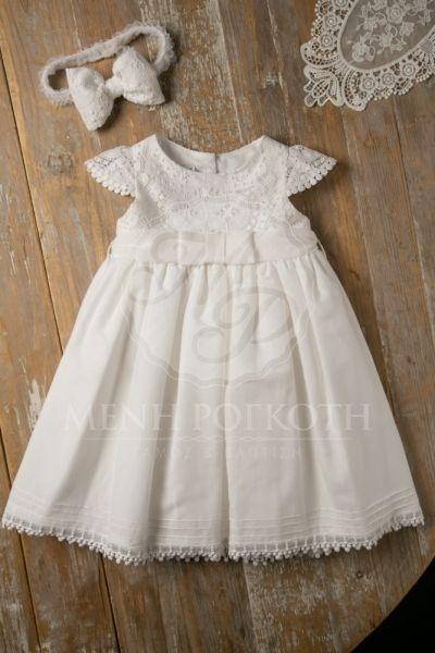 a0b4bb0c6fae Βαπτιστικά ρούχα για κορίτσι της Maria Zeaki φόρεμα λευκό με βαμβακερή  δαντέλα στο μπούστο και κοφτό