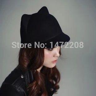 Бесплатная доставка осень и зима женские шапки женский купол шерстяные небольшой Fedoras кошачьи уши дьявол шапки леди Fedoras