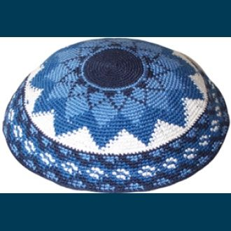 Blue Star Knitted Kippah