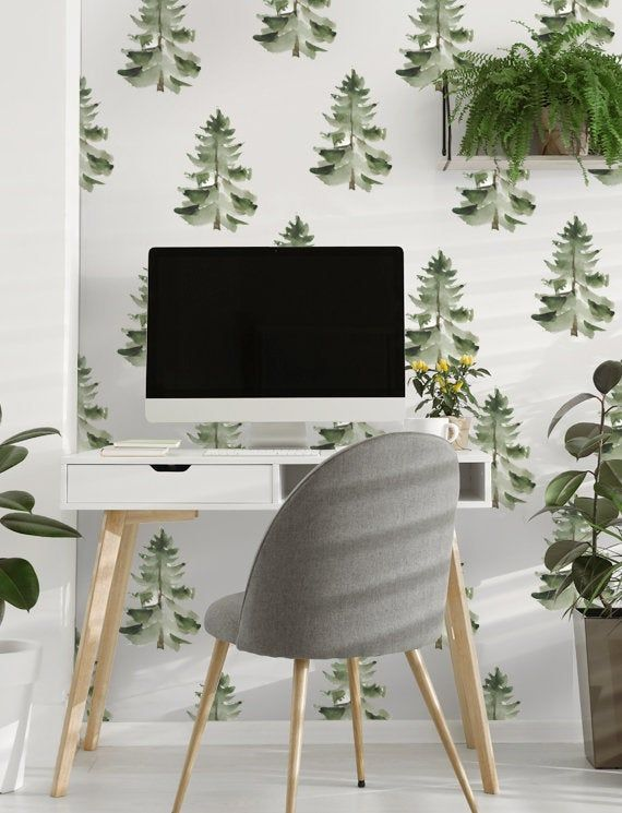 Pine Trees Pattern Removable Wallpaper Peel Stick Etsy Removable Wallpaper Tree Patterns Tree Wallpaper Nursery