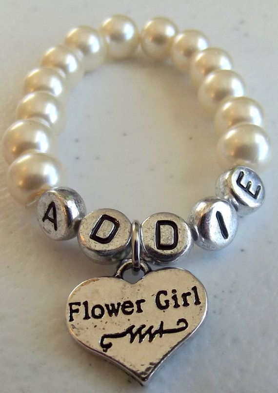 Name Bracelet with Flower Girl Charm on Etsy, $9.98
