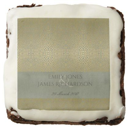 GLAMOROUS GOLD VELVET GREY MOSAIC DOT PERSONALISED CHOCOLATE BROWNIE - bridal gifts bride wedding marriage