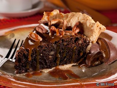 Turtle Pie - This decadent chocolate pie recipe only uses 4 easy ingredients...including a couple of handy shortcuts! Top with drizzled caramel and get ready for a late night chocolate dessert you'll fall in love with.
