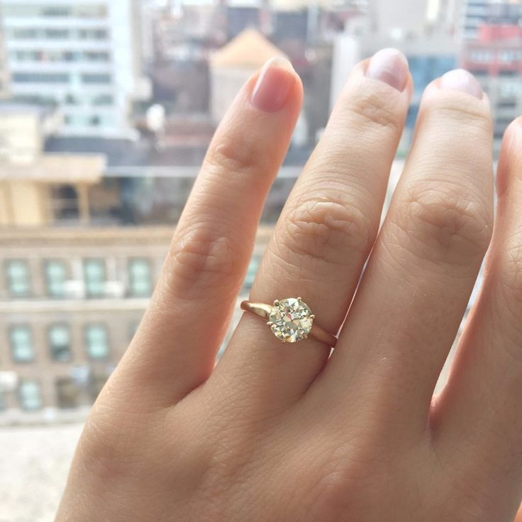 Vintage Old European Cut Solitaire Engagement Ring in a yellow gold setting! The Montana ring from Victor Barbone Jewelry!