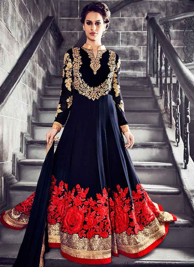 Navy Blue Embroidery Thread Work Stone Work Georgette Designer Long Anarkali Suit. Buy Online Shopping Salwar Kameez At -UAE http://www.angelnx.com/Salwar-Kameez/Anarkali-Suits