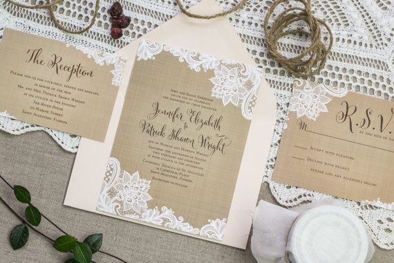 Rustic Wedding Invitation set Vintage by FeatheredHeartPrints