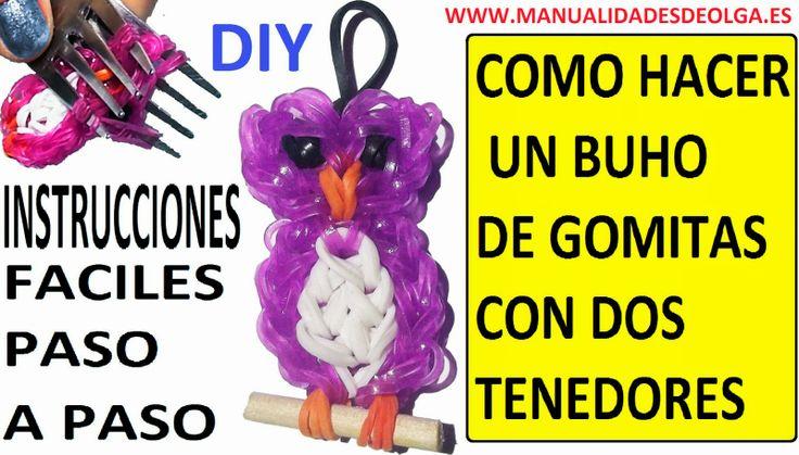 COMO HACER UN BUHO DE GOMITAS (LIGAS) (OWL CHARMS) CON DOS TENEDORES. sin telar rainbow loom ni similar. Buho de gomas utilizando un telar casero.